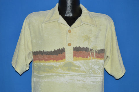 80s Terry Cloth Sunset Island Polo Shirt Medium
