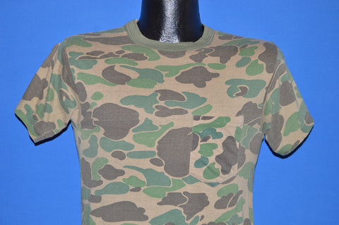 80s Green Brown Camouflage Hunting t-shirt Small