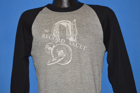 80s The Record Vault Raglan Jersey Style t-shirt Medium
