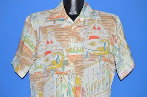70s Golden Arrow Vacation Scene Disco Shirt Large