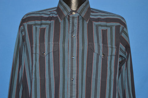 80s Panhandle Slim Blue Striped Western Pearl Snap Shirt Large