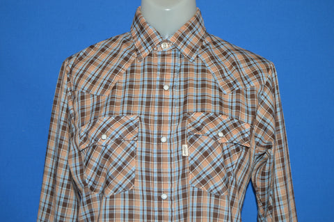 80s Levis Blue Brown Plaid Pearl Snap Shirt Youth Extra Large