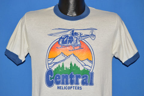 80s Central Helicopters Ringer t-shirt Small