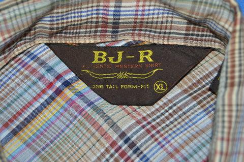 80s BJ-R Brown Plaid Western Pearl Snap Shirt Extra Large