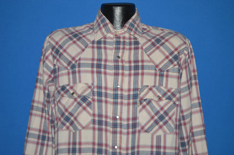 90s Red Blue White Flannel Pearl Snap Western Shirt Large