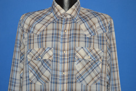 80s Levis White Blue Plaid Western Pearl Snap Shirt Large