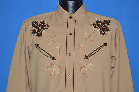 70s Leaf Embroidered Western shirt Medium