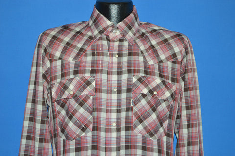 80s Levis Red Brown Plaid Western Pearl Snap Shirt Medium