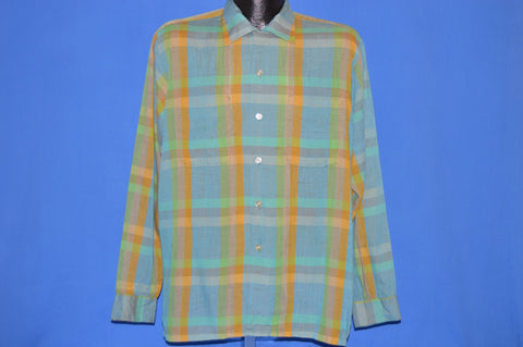 60s Plaid Loop Collar Square Bottom Shirt Large