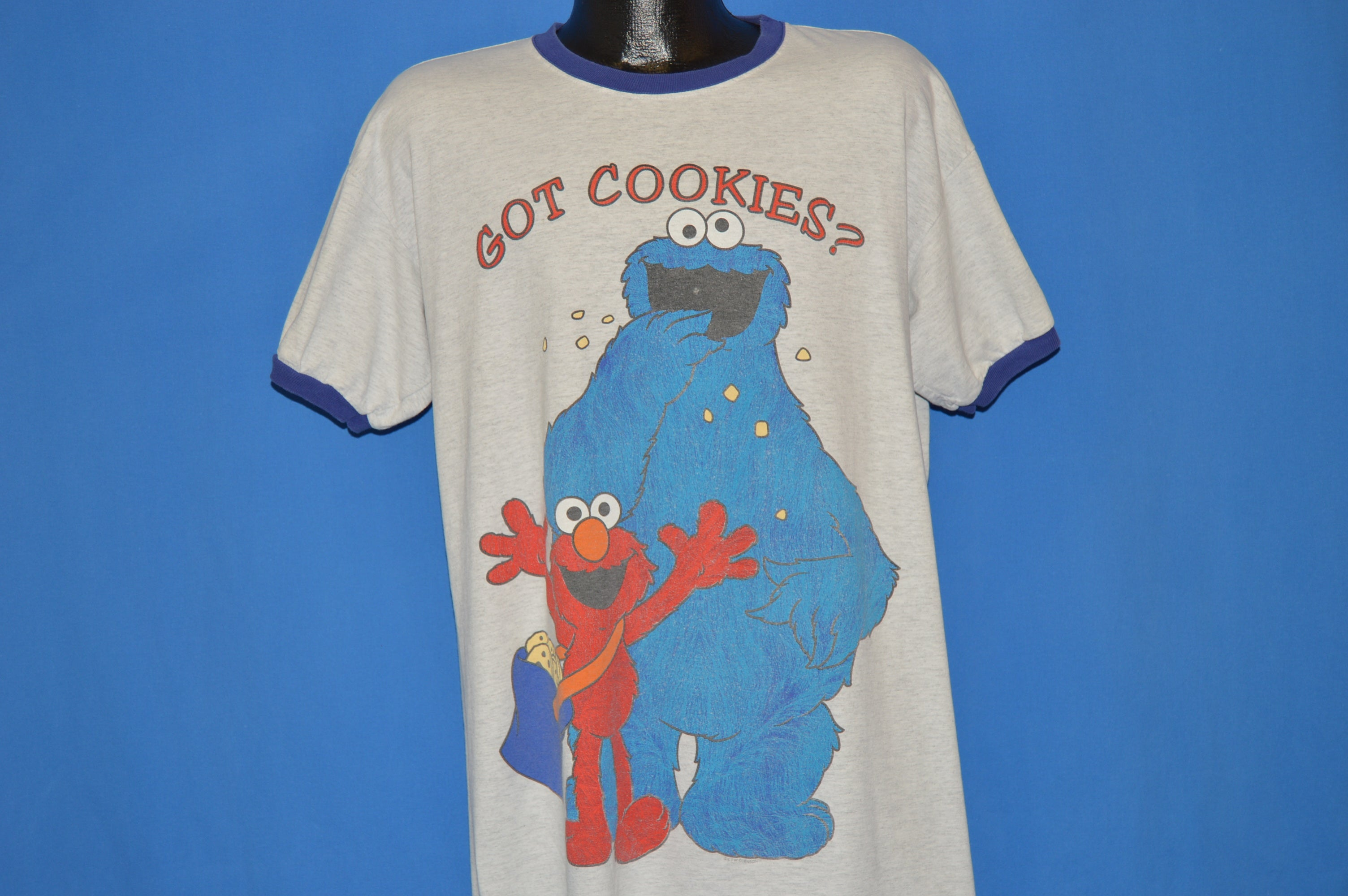 56a7f452b 90s Sesame Street Cookie Monster And Elmo t-shirt Extra Large - The ...