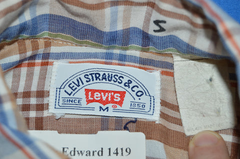 80s Levis Brown Blue Plaid Button Down Shirt Medium