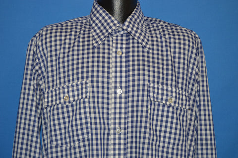 80s Levis Blue White Gingham Shirt Extra Large