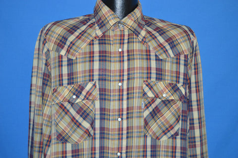 80s Levis Plaid Yellow Blue Western Peal Snap Shirt Large