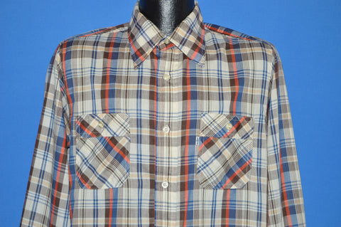 80s Levis Red Blue White Plaid Shirt Large