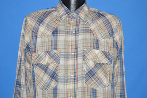 80s Levis Plaid Blue Gray Pearl Snap shirt Large