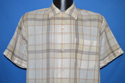 60s Essley Beige Brown Plaid Loop Collar Shirt Medium