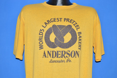 80s Worlds Largest Pretzel Bakery Anderson PA t-shirt Large