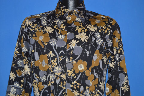 70s Black And Gold Floral Tapered Disco Shirt Small