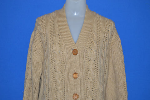 60s Brown Cable Knit Women's Cardigan Sweater Medium