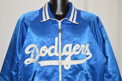 80s Los Angels Dodgers Satin Zipper Jacket Large