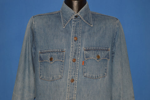 70s Levi's Orange Tab Heavy Denim Shirt Medium