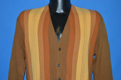 60s Brown Beige Orange Striped Cardigan Sweater Medium