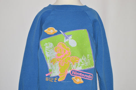 80s Super Mario Moon Surf Nintendo Sweatshirt Youth Small