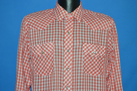 80s Red White Western Pearl Snap shirt Large