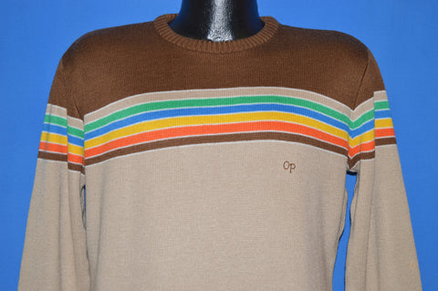 80s OP Ocean Pacific Brown Rainbow Sweater Large