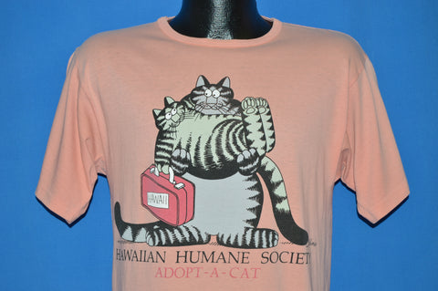 80s B Kliban Fat Cat Hawaiian Humane Society t-shirt Small