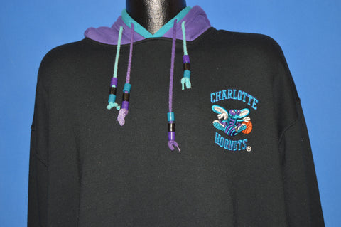 90s Charlotte Hornets Double Hooded Sweatshirt Extra Large