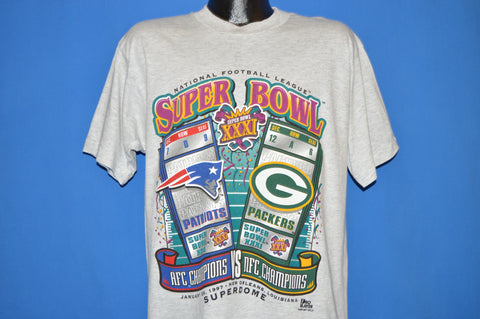 90s Super Bowl XXXI Patriots And Packers 1997 t-shirt Large