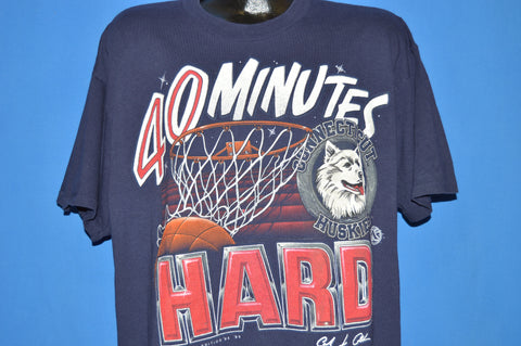 90s Connecticut Huskies 40 Minutes Hard t-shirt Extra Large