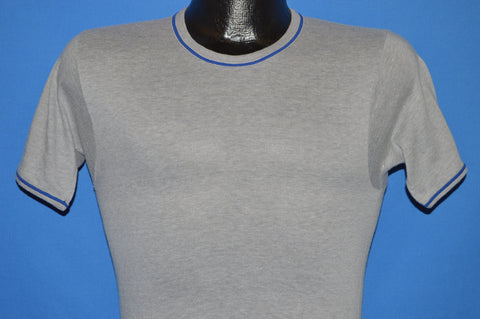 70s Gray Blank Blue Ringer t-shirt Extra Small
