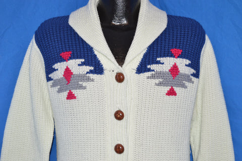 70s Miller Western Wear White Blue Shawl Collar Cardigan Sweater Small