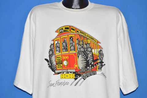 80s B Kilban Fat Cat Cable Car San Francisco t-shirt XXL