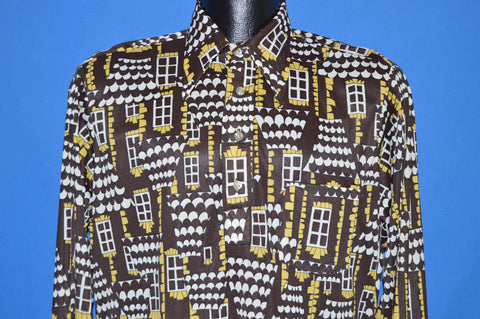 70s JCPenney Brown Windows Disco Shirt Medium