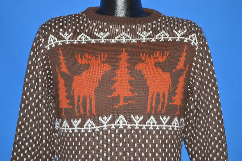 70s Brown Moose Snowflake Sweater Medium