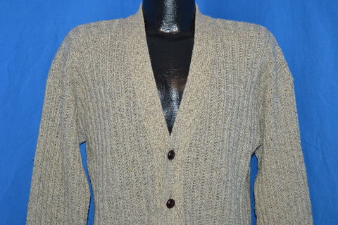 80s Rib Knit Leather Button Wool Cardigan Sweater Large