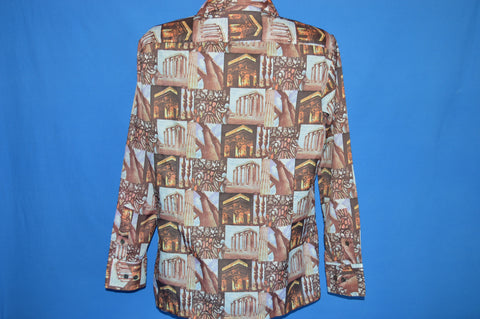 70s Stain Glass Columns Architecture Disco Shirt Medium