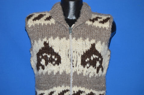 80s Cowichan Indian Orca Whale Knit Wool Sweater Vest Small