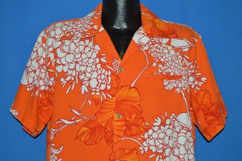 60s Orange and White Flowered Hawaiian Aloha Shirt Extra Large