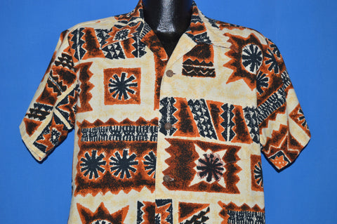 60s Brown and Tan Tiki Hawaiian Aloha Shirt Large