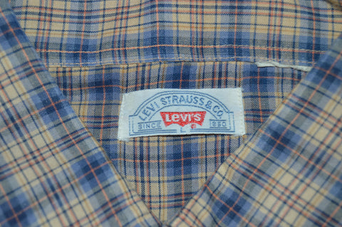 80s Levi's Blue Tan Plaid Western Pearl Snap Shirt Large