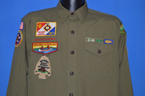60s Boy Scouts of America Wool Uniform Philmont Patch Shirt Medium