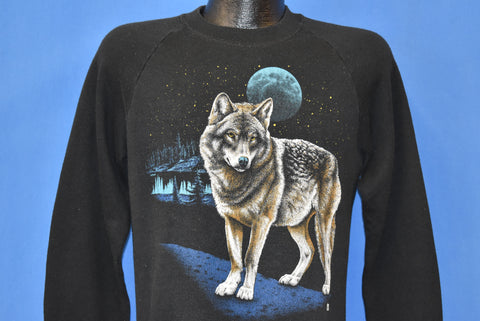 80s Wolf Full Moon At Night Sweatshirt Medium
