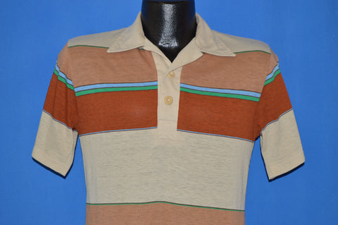 80s Surfer Striped Polo Shirt Small