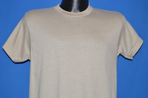 70s Beige Blank Box Tag 1970s t-shirt Medium