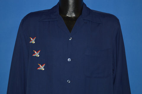 40s McGregor Embroidered Mallard Duck Button Front Shirt Medium