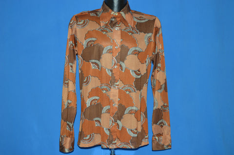 70s Paul Jardin Fan and Cloud Print Disco Shirt Small